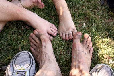 Dirty feet after completing the crossing