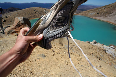 Shoe grit after running down the Red Crater gravel chute